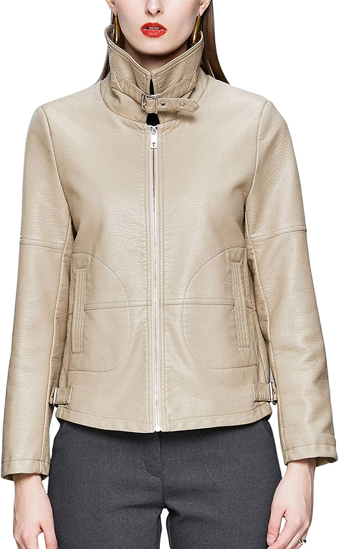 chouyatou Women's Casual Buckle Lapel Collar Loose Short Pu Faux Leather Biker Jacket