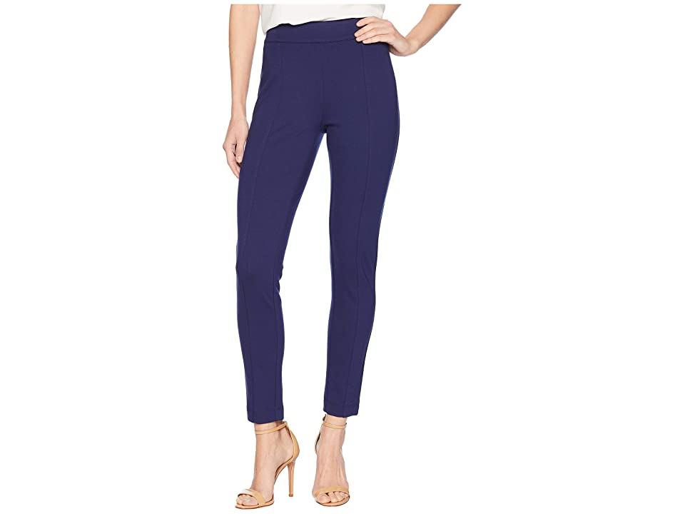 Anne Klein Solid Pull-On Compression Pants (Marine Blue) Women
