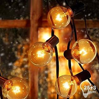 Sunnest Cadena de Luz G40 Guirnaldas luminosas de Exterior con 25 Bombillas Incandescentes Perfecto para Jardín Patio Trasero Fiesta Navidad (2 Bombilla de Repuesto), 7.62 m Con Enchufe