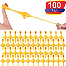 Sumind 100 Pack Slingshot Chicken Flick Chicken Flying Chicken Flingers Stretchy Funny Rubber Chickens Easter Chicks Party Activity for Children (100 Pack Yellow)