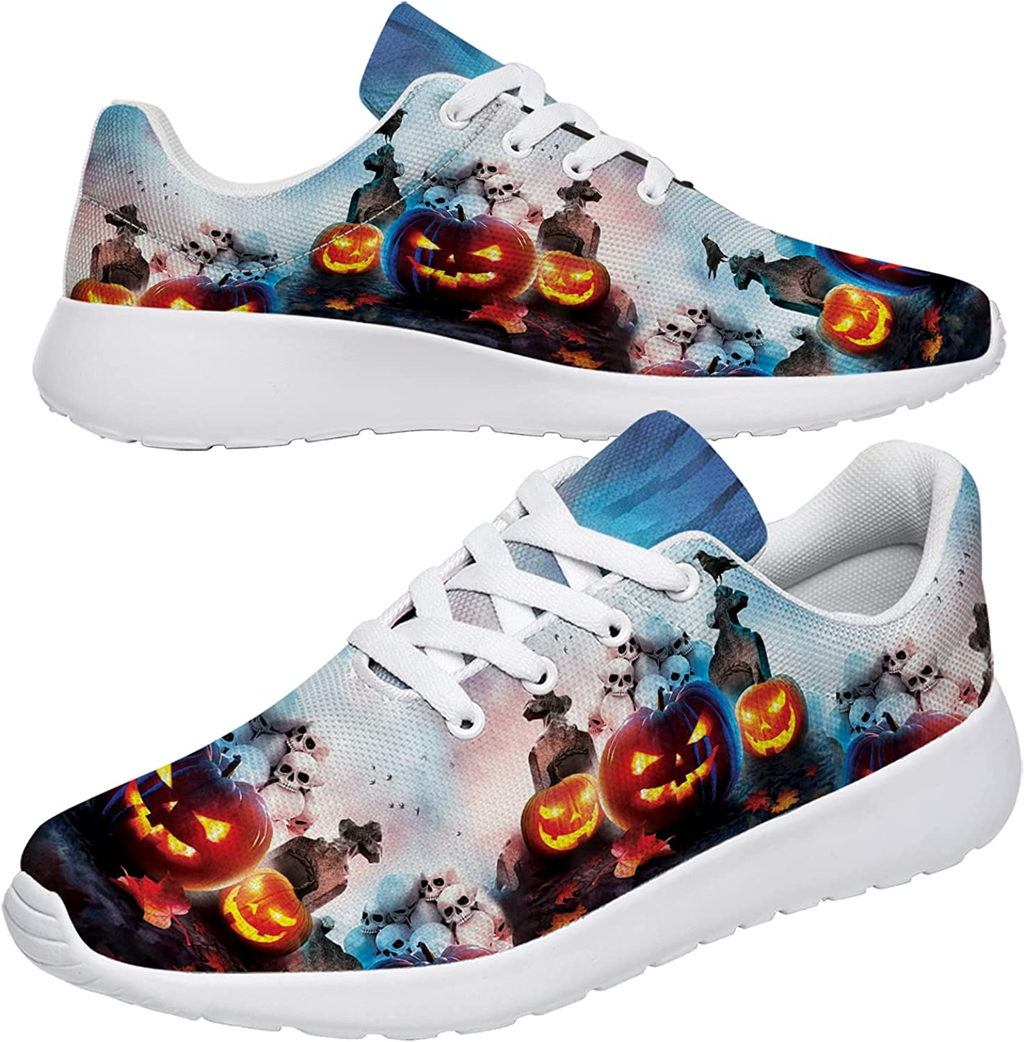 Uminder Halloween Print Shoes Women's Men's Trail Running Shoes Lightweight Sneakers Athletic Sport Walking Tennis Shoes Gifts for Travel