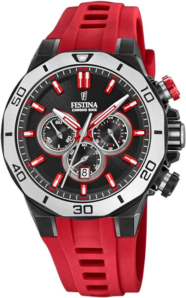 Festina, orologio,cronografo per uomo,con cinturino in silicone e cassa in acciaio F20450/3