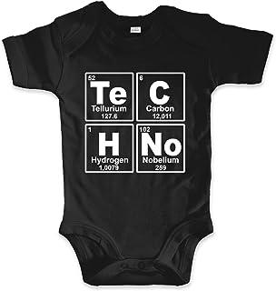 net-shirts Organic Baby Body aus Bio-Baumwolle mit Techno Aufdruck Strampler Electro Minimal Trance Chemie Periodensystem Periodic System Chemische Elemente