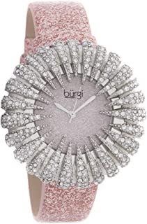 Burgi Women's Bur112Lp Crystal Accented Silver Quartz Watch With Light Pink Dial and Pink Bracelet, Analog Display