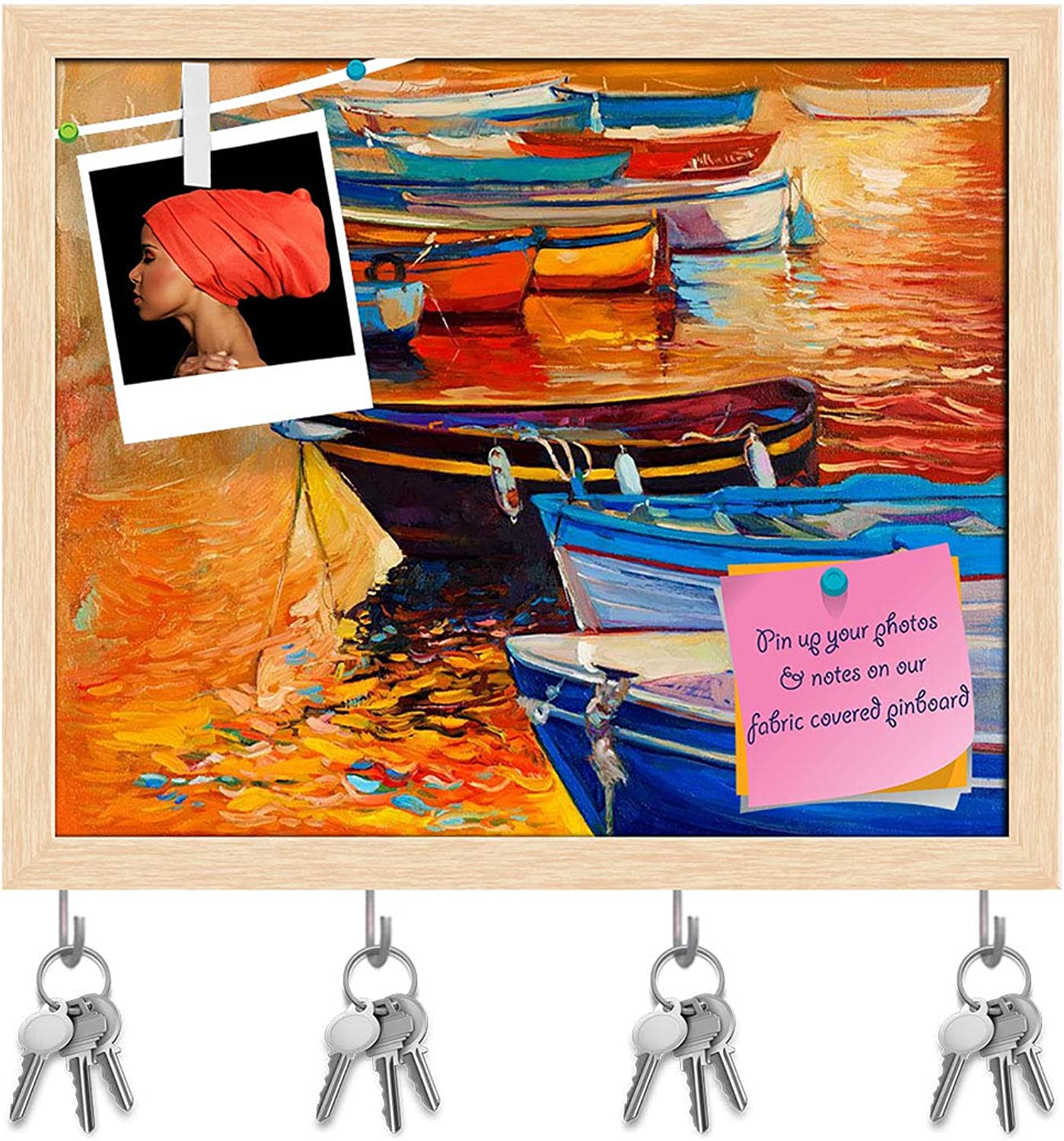 Artzfolio Artwork of Boats & Jetty D9 Key Holder Hooks   Notice Pin Board   Natural Brown Frame 7.1 X 6Inch