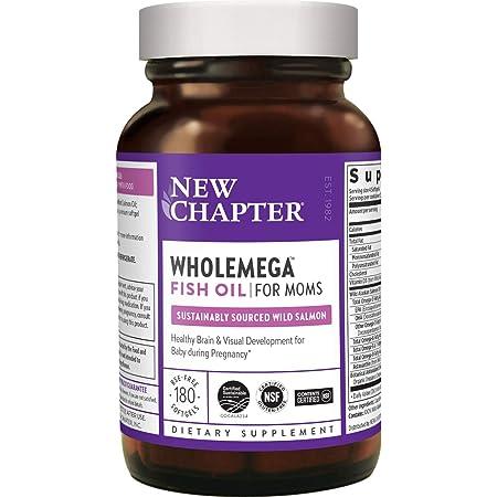 New Chapter Prenatal DHA - Wholemega for Moms Fish Oil Supplement with Omega-3 + Vitamin D3 for Prenatal & Postnatal Support - 180 ct softgels 500mg