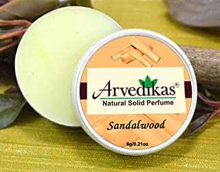 Arvedikas Sandalwood Natural Solid Perfume Beeswax/Mini Jar/Floral Fragrance/Sandalwood Perfume/Essential Oil Blend Perfume/Women Aromatic Scent 6gm (30 Varieties) (Sandalwood)