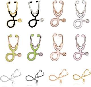 Juego de 12 broches de estetoscopio, estoscopio, esmalte para solapa de estudiantes de medicina, médicos, enfermera, estet...