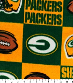 NFL Green Bay Packers Block Football Fleece Fabric Print By the Yard