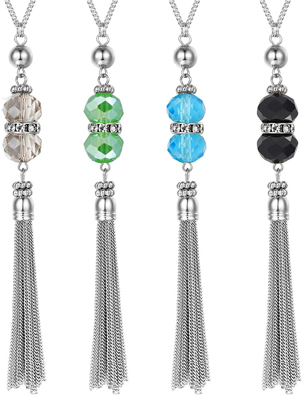 Gleamart 4Pcs Long Tassel Necklace Crystal Y Tassel Necklace Set for Women