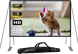 120 inch Projector Screen with Stand, 16:9 HD Outdoor Movie Projection Screen, Foldable & Portable Projection for Backyard...