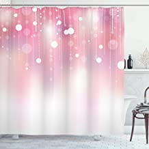 Pearls Decor Shower Curtain by Ambesonne, Hanging Big Pearls Circles and Diamonds Print Image Home Decor Wedding Bridal Art, Polyester Fabric Bathroom Set with Hooks, 75 Inches Long, Pink and White
