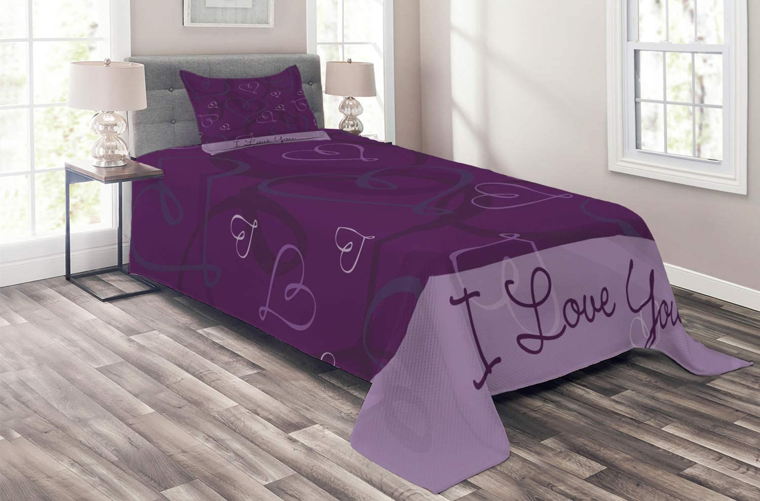 Ambesonne Long Beach Mall Romantic 5% OFF Coverlet Lavender Themed Im Colored
