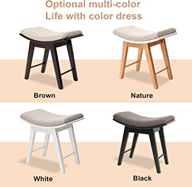IWELL Vanity Stool with Rubberwood Legs, Makeup Bench Dressing Stool with Padded Cushioned, Capacity 330lb, Piano Seat, Brown