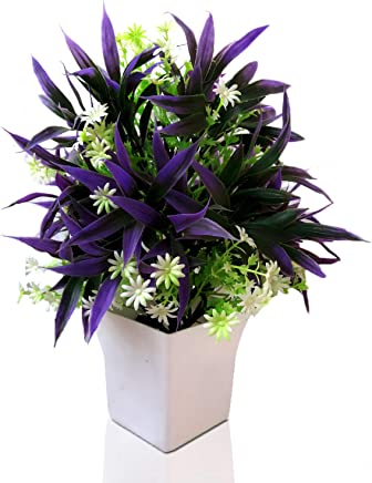 Amions Artificial Flower Plants with Pot & LED Lighting, Home Decor Lights for Living Room, Office (Blue)