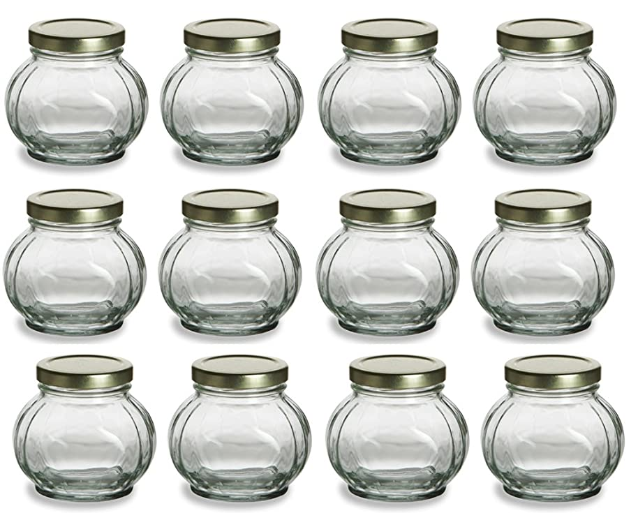 Nakpunar Round Glass Jars with Lids - Canning, Preserving (8 oz, Gold)