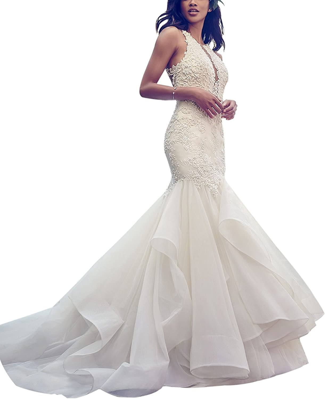 Weiterstar Women's Empire High Neck 2018 Fashion Applique Lace Mermaid Wedding Dress