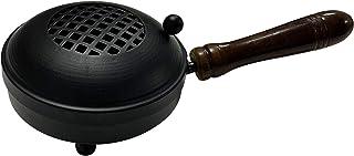 diollo Metal Charcoal Incense Burner, Loban, Sambrani Dhoop, Resin & Home Office Temple Prayer Butler-Black-5 Inch