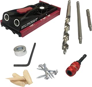 Milescraft 13230003 PocketJig200 Kit - Complete Pocket Hole Kit with Jig, Bit, Screws and Drivers, Black/Red