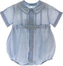 Feltman Brothers Baby Boys Blue Dressy Bubble Outfit with Pintucks