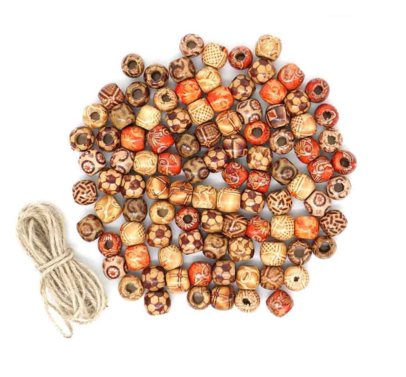 LuckyStar365 100 Pcs 12mm Assorted Painted Barrel Wooden Beads, Beading DIY Loose Wooden Beads