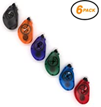 Emraw Permanent Glue Correction Tape Safe Smooth Wrinkle Mess Free - Colors Included: Blue, Black, Red, Purple, Green & Orange - for School, Home & Office (Pack of 6)