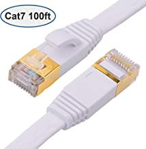 Cat 7 Ethernet Cable 100 Feet, Flat Internet Cable with Gold Plated Rj45 Connectors, Long Durable High Speed Lan Cable with Clips for Gaming, Router, Modem, Xbox – White