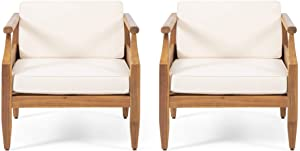 Christopher Knight Home 312157 Daisy Outdoor Club Chair with Cushion (Set of 2), Teak Finish, Cream