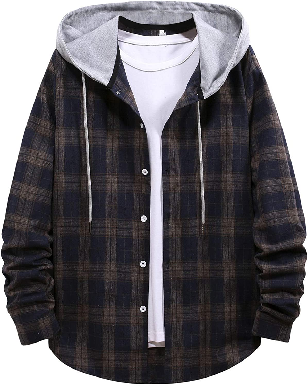 ZSBAYU Men's Cotton Blend Plaid Jacket Hoodie Fashion Classic Casual Button-Down Long Sleeve Shirts Hooded Coat