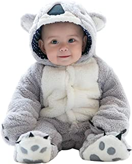 Infant Winter Snowsuit Baby Bear Outfit Fleece Bunting Pram Suit Outerwear Coat with Ears