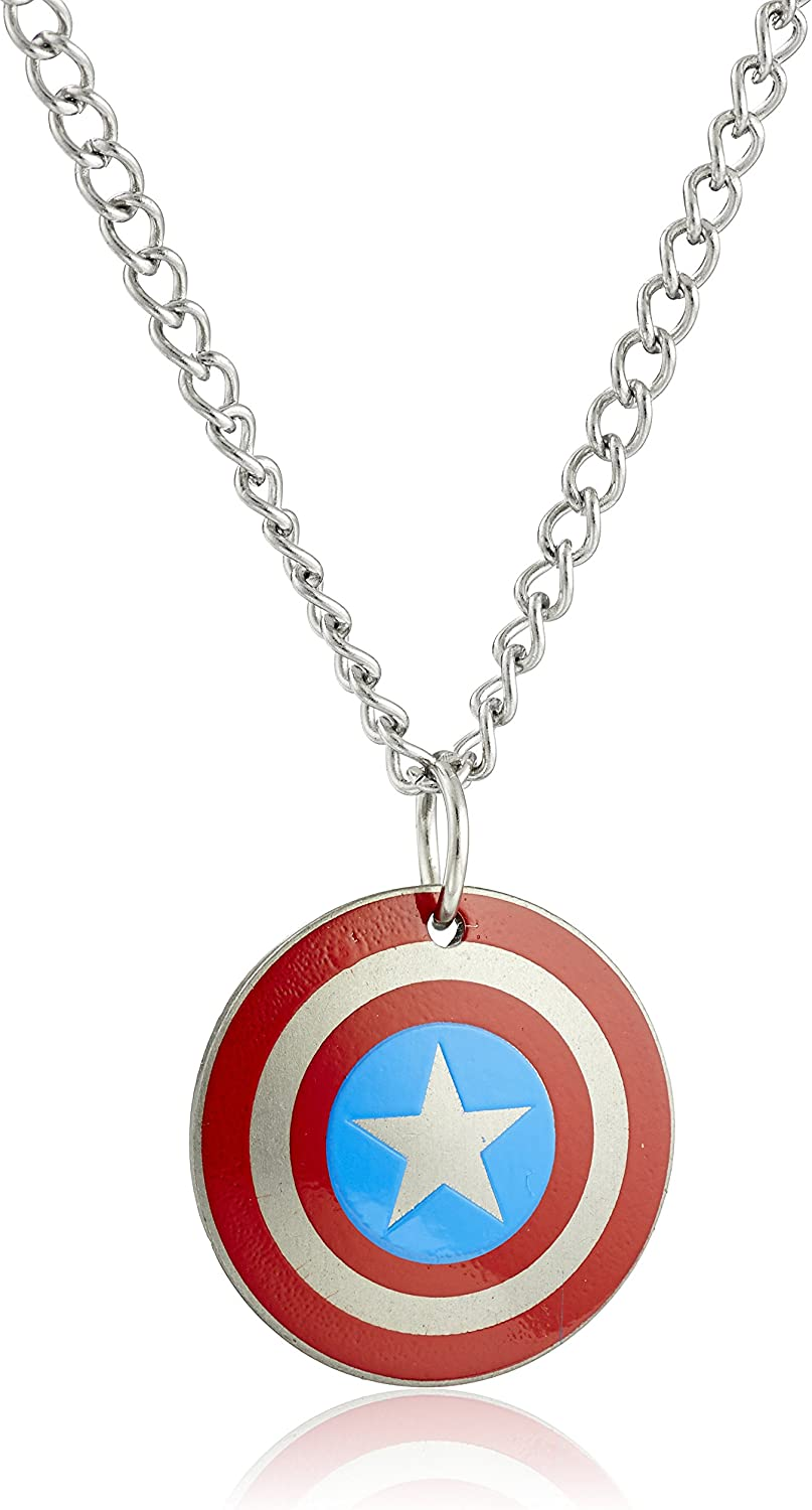 Marvel Comics Stainless Steel Captain America Shield Chain Pendant Necklace, 16