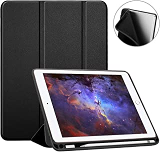 Fintie iPad 9.7 2018 (6th Gen) Case with Built-in Apple Pencil Holder - [SlimShell] Lightweight Soft TPU Back Protective Stand Cover with Auto Wake / Sleep for Apple iPad 9.7 inch Tablet (2018 Release), Black