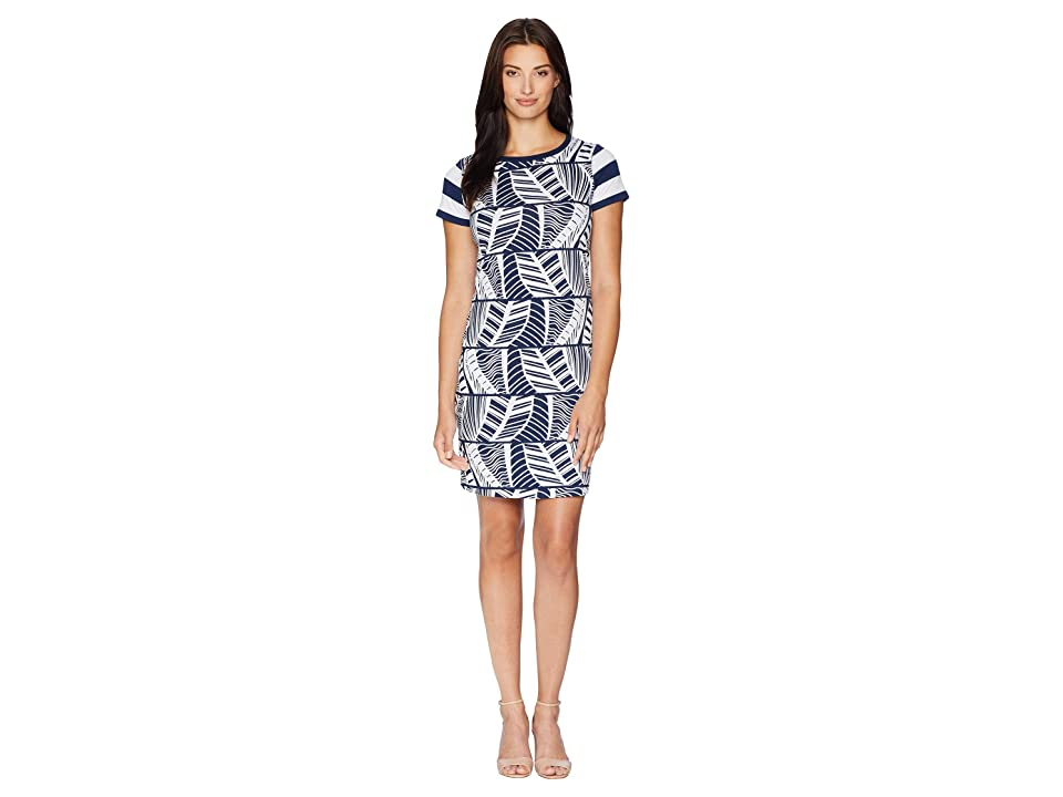Tommy Bahama Leaf Line T-Shirt Dress (Ocean Deep) Women's Dress, Blue