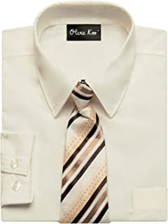 Boys Solid Color Dress Shirt with Matching Tie Set in 14 Colors (Size 2T to 20)