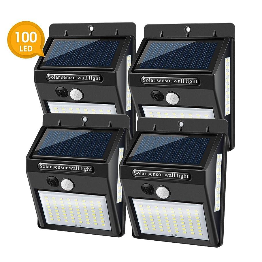 減衰耐える優越センサーライト NIMAI ソーラーライト 100LED 3面発光照明 ボディーセンサ ソーラー発電 夜間自動点灯 IP65防水 玄関/ガーデン/庭/駐車場 4個組
