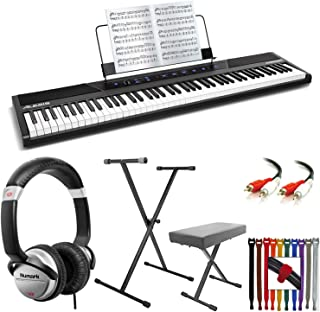 $319 » Alesis Concert 88-Key Digital Piano with Full-Size Semi Weighted Keys With Touch Response + Keyboard Stand & Bench Pak + DJ Headphones + Audio Cable + Multi Colored Rip-Tie Cable Strap