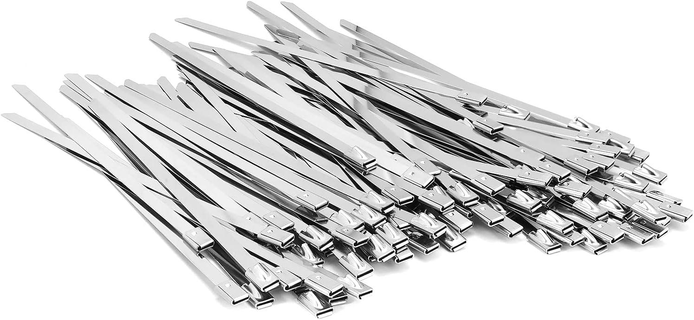 100PCS 7.8 inch 304 Stainless Steel Zip Ties Metal Zip Ties Heavy Duty Locking Cable ties Strap for Exhaust Wrap, Garage, Outdoor (7.8)