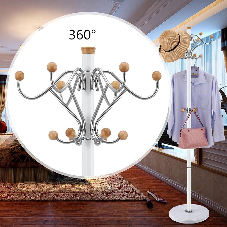 Stainless Steel Coat Rack Coat Rack Floor Simple Bedroom Clothes Rack Living Room Creative Clothes Rack (color   White)