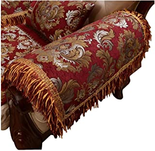Sideli Luxury Chenille Jacquard Armrest Cover For Chair Couch Sofa Anti-Slip Furniture Protector (2pc-20x24-sofa arm Cover,Wine red)