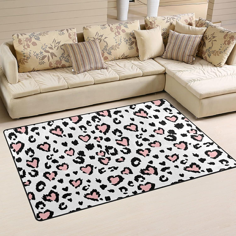 Leopard Heart Print Large Max 69% OFF Mesa Mall Soft Area Mat Nursery Playmat Rug Rugs