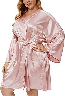 Women's Plus Size Satin Kimono Robes Short Silk Bathrobe...