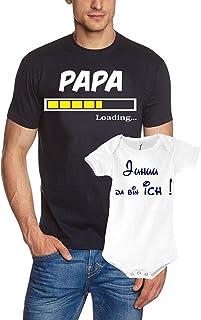 Coole-Fun-T-Shirts Papa T-Shirt  Strampler in Geschenkbox - Set zur Geburt Vater und Baby - Papa Loading und Juhuu da Bin ich ! Junge und Mädchen Strampler Männer T-Shirt S M L XL 2XL 3XL Baby Body