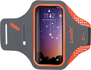 Letsfit Running Armband, Water Resistant Cell Phone Armband for Smart phone 8 7 6 with Key Slot, Headphone Slot and Face ID for Running, Walking, Hiking, Orange