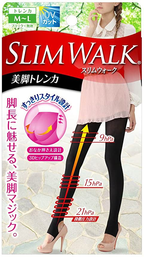 コンペスキップアヒルスリムウォーク 美脚トレンカ M-Lサイズ ブラック(SLIM WALK,stirrup leggings,ML)