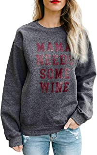Shusuen Women's Casual Long Sleeve Crew Neck Oversized Pullover Letter Print Sweaters Tops