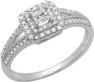 Dazzlingrock Collection 0.50 Carat (ctw) 14K Princess & Round Diamond Split Shank Bridal Halo Engagement Ring 1/2 CT, White Gold