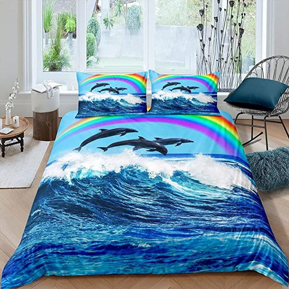 HSBZLH 3Pcs Kids Dolphin Clearance SALE Limited time Comforter Cover B Girls Ocean Max 48% OFF Blue Boys