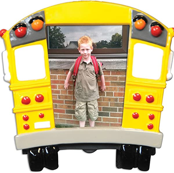 Personalized School Bus Picture Frame Christmas Tree Ornament 2019 Milestone Memory Yellow Transit Photo Display Student Child First Day Worker Kids 1st Best Driver Gift Year Free Customization