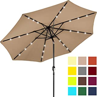 Best Choice Products 10-Foot Solar Powered Aluminum Polyester LED Lighted Patio Umbrella with Tilt Adjustment and Fade-Resistant Fabric, Tan