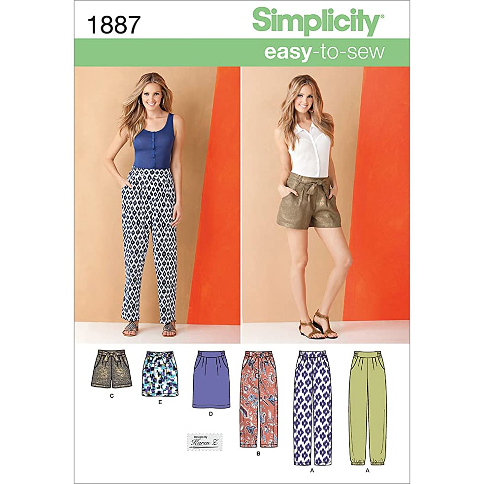 Simplicity Karen Z Easy-to-Sew Pattern 1887 Misses Pants, Shorts and Skirt in 2 Lengths Size 16-18-20-22-24